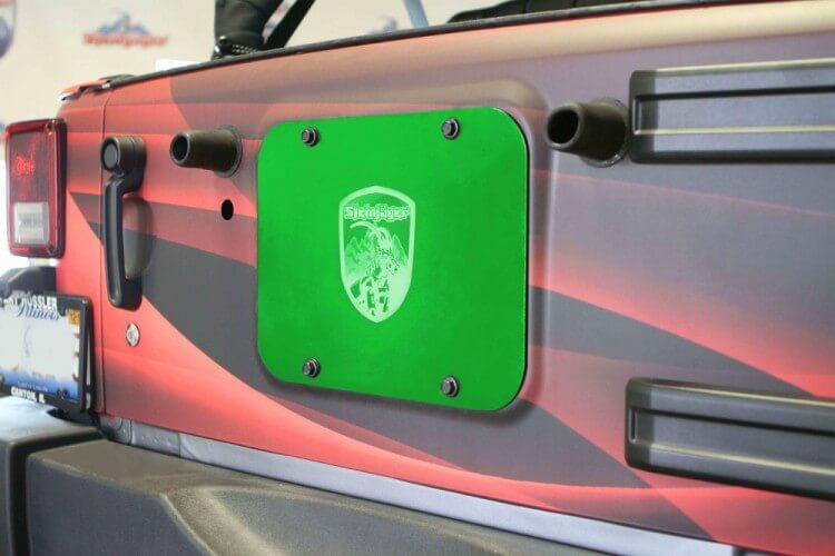Steinjager J0043942 Spare Tire Carrier Delete Plate Wrangler JK 2007-2018 Neon Green