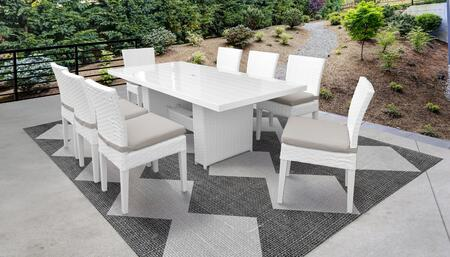 MONACO-DTREC-KIT-8C-BEIGE Monaco 9-Piece Outdoor Patio Dining Set with Rectangular Table + 8 Side Chairs - Wheat and Beige
