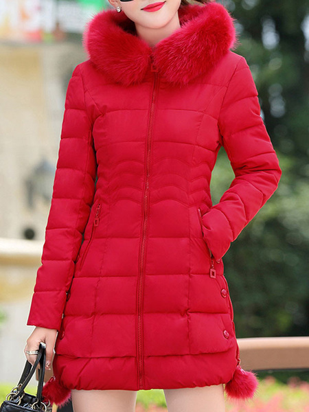 Milanoo Abrigos acolchados Pompones rojos Cremallera con capucha Manga larga Casual Abrigo de invierno normal Ropa de abrigo