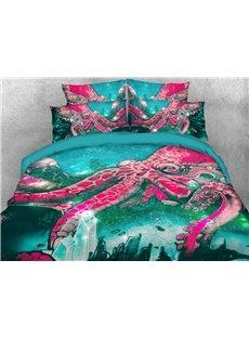 Kraken Octopus Tentacles Ocean Green 3D Printed 4-Piece Bedding Set/ Duvet Cover Set