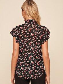 Floral Print Tie Neck Blouse