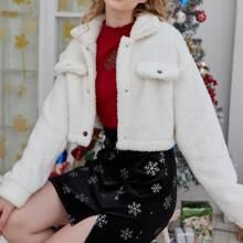 Christmas Solid Button Front Teddy Jacket