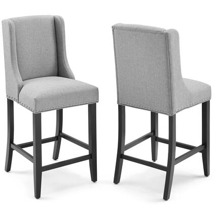 Baron Collection EEI-4016-LGR Set of 2 Counter Stools with Polished Nailhead Trim  Solid Rubberwood Legs  Non-Marking Foot Caps and Polyester Fabric