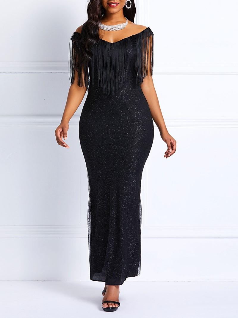 Ericdress Tassel Short Sleeve Floor-Length Mermaid Dress
