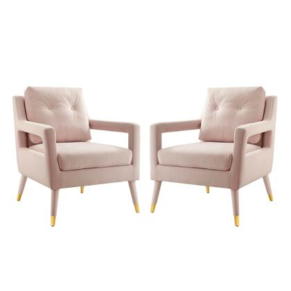Premise Collection EEI-4428-PNK Set of 2 Accent Lounge Armchairs with Splayed Birch Wood Legs  Gold Metal Leg Sleeves  Dense Foam Padding and