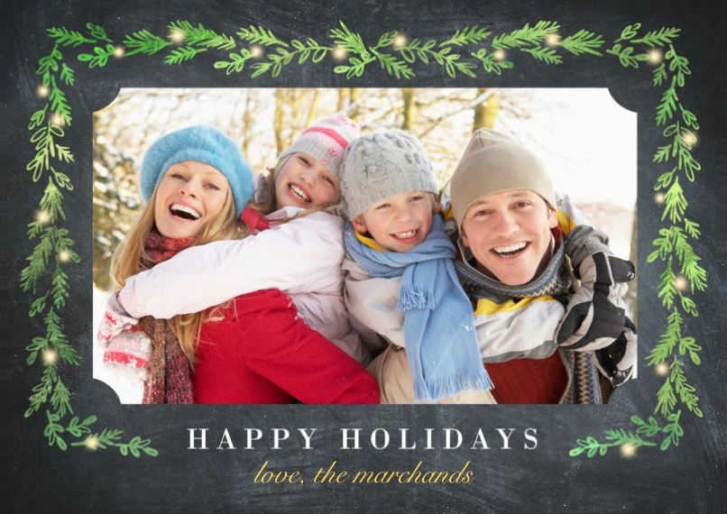 Christmas Photo Cards 5x7 Cards, Premium Cardstock 120lb with Scalloped Corners, Card & Stationery -Sprig Border With Lights