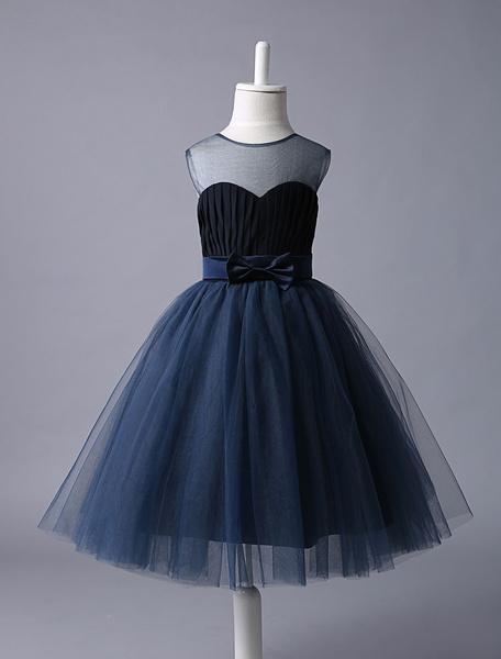 Milanoo Vestido de niña para boda 2020 de Floristas Vestido azul marino con escote corazon Tutu Vestido de fiesta corto con lazo de lazo Bow niñas For
