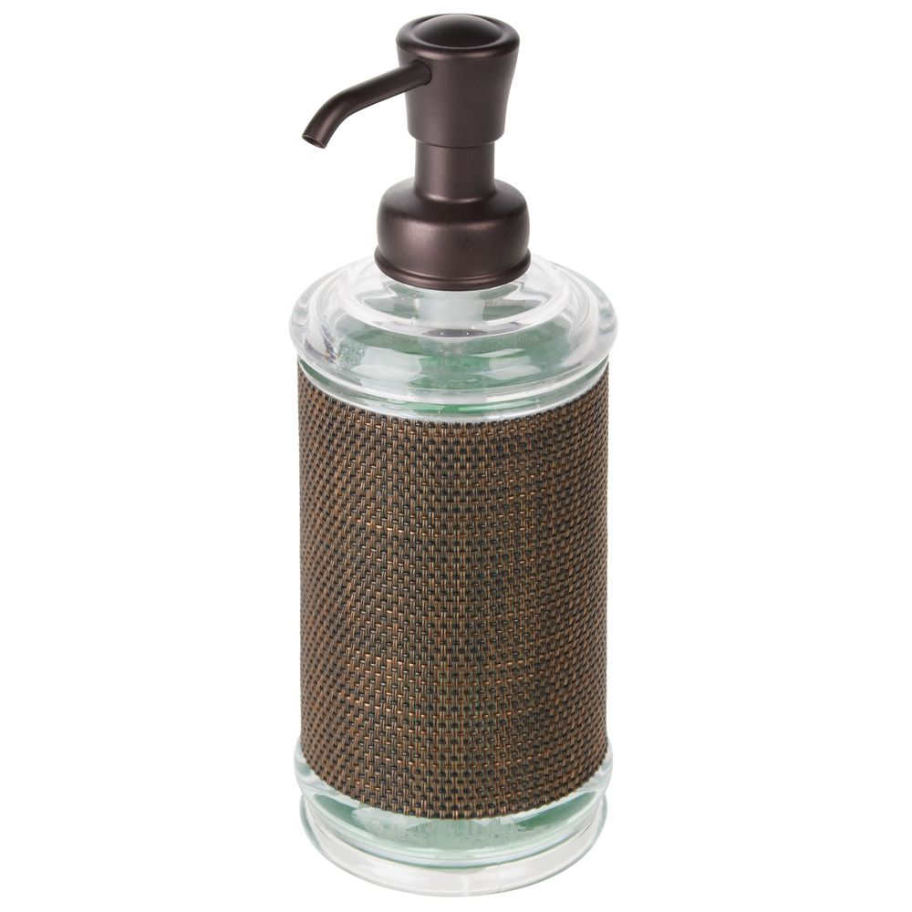 Round Plastic Refillable Liquid Soap Dispenser Pump with Woven Accent in Bronze, by mDesign