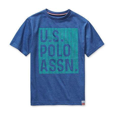 Us Polo Assn. Big Boys Embroidered Crew Neck Short Sleeve Graphic T-Shirt, Small (8) , Blue