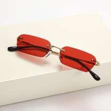 Rimless Square Frame Sunglasses