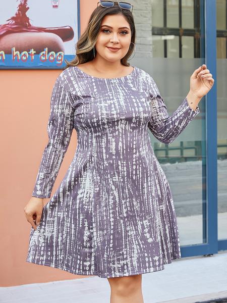 YOINS Plus Size Lace-up Design Tie Dye Dress