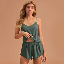 Ribbed Lettuce Trim Cami PJ Set
