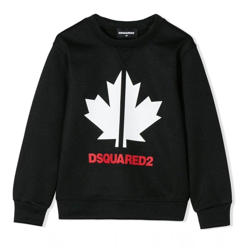 Dsquared2 Maple Leaf Sweatshirt Colour: BLACK, Size: 12 YEARS