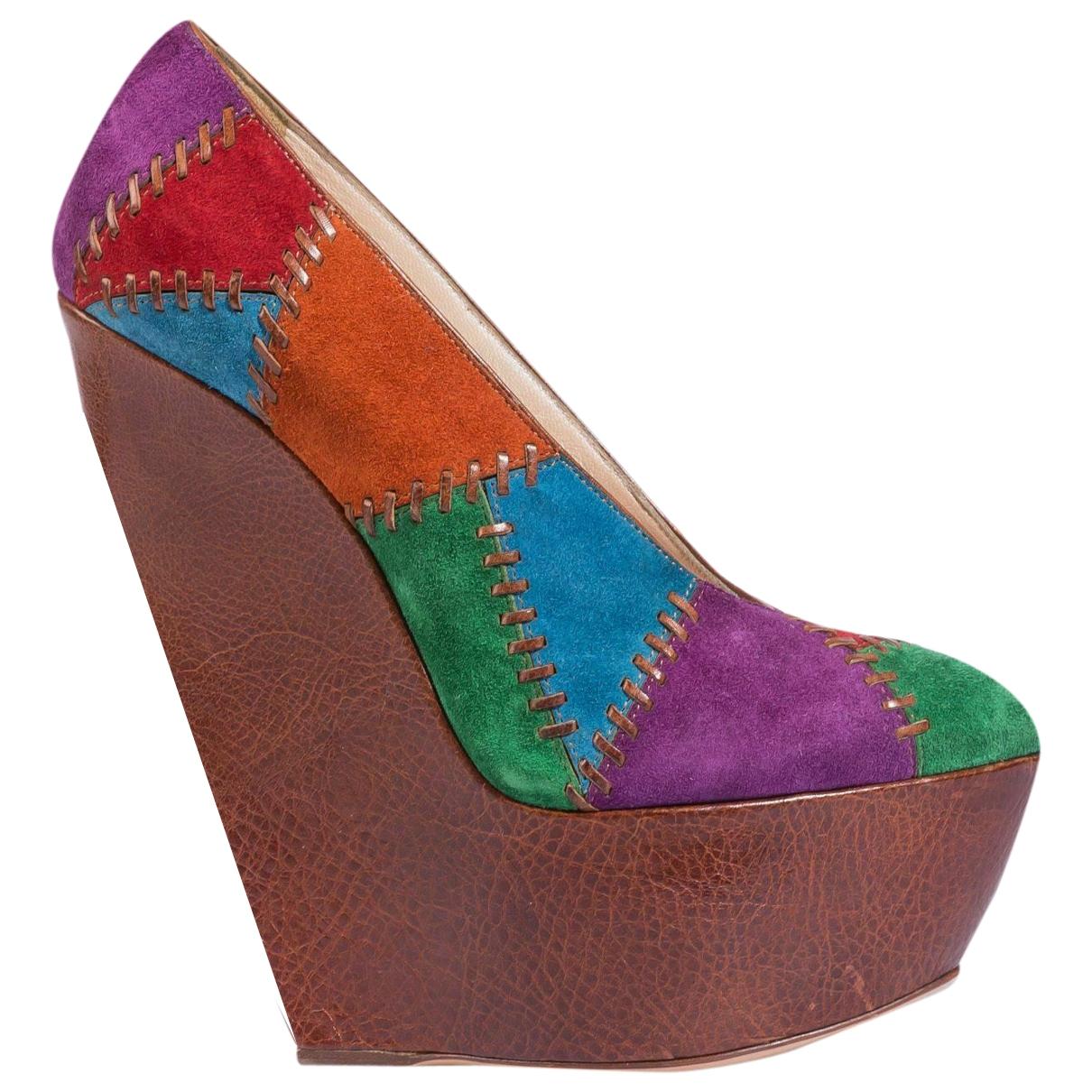 Casadei - Escarpins   pour femme en suede - multicolore