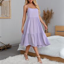 Solid Tiered Cami Dress