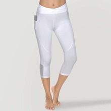 Vutru Marled Knit Mesh Insert Capris Sports Leggings With Phone Pocket