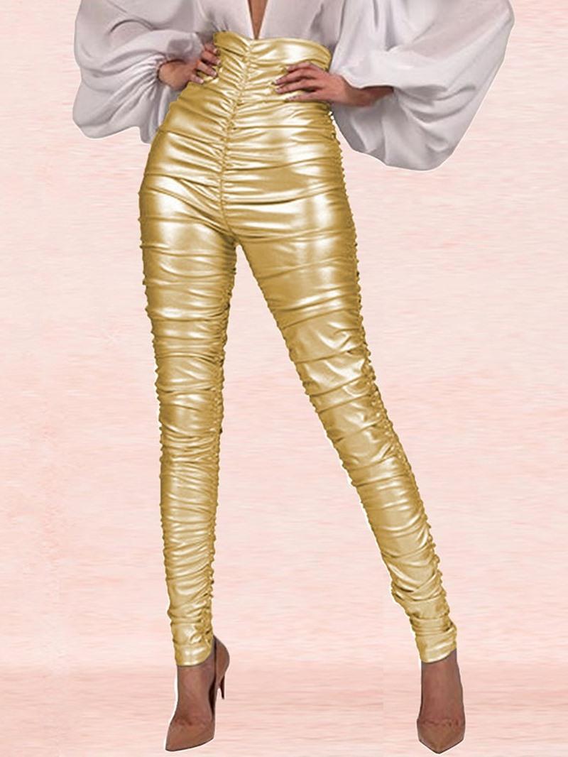 Ericdress Plain Pleated Skinny High Waist Full Length Casual Pants