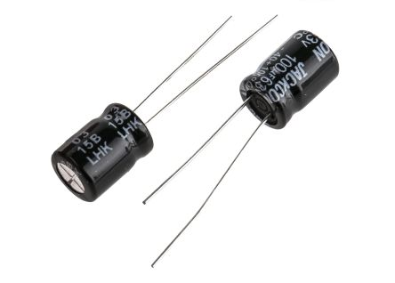 RS PRO 100μF Electrolytic Capacitor 63V dc, Through Hole (50)