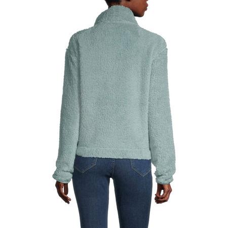 Flirtitude-Juniors Long Sleeve Mock Neck Sherpa, Medium , Green