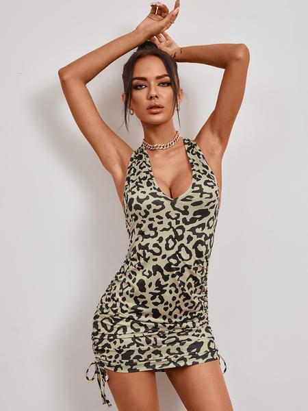 YOINS Grey Ruched Leopard V-neck Lace-up design Sleeveless Mini Dress