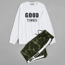 Guys Letter Graphic Pullover & Camo Sweatpants Set