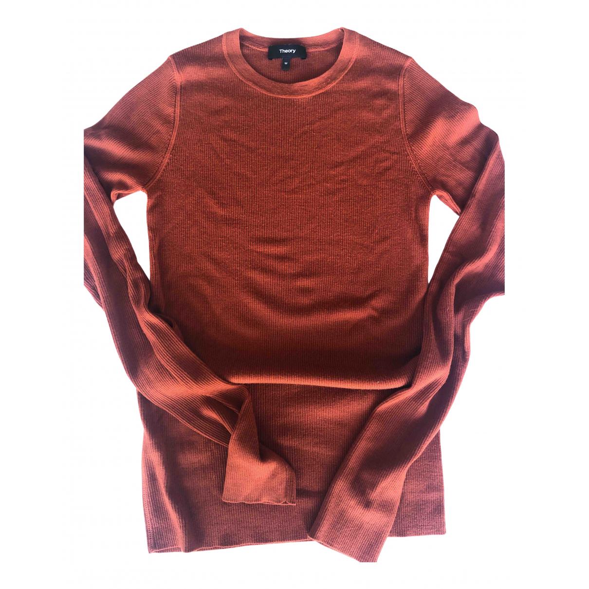 Theory - Pull   pour femme en laine - marron