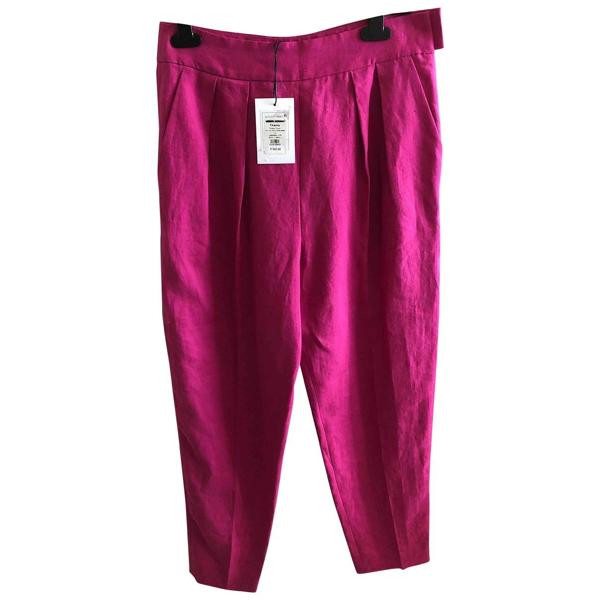 Theory \N Pink Linen Trousers for Women 4 US