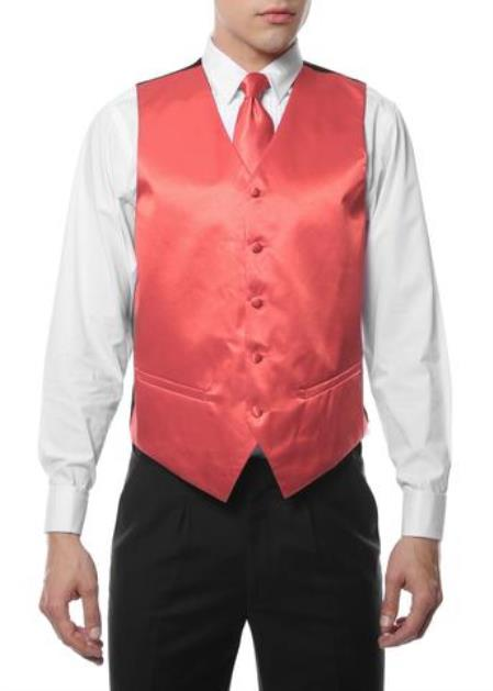 Mens 4PC Big and Tall Vest & Tie & Bow Tie and Hankie Coral