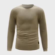 Pullover mit Flicken und rundem Kragen