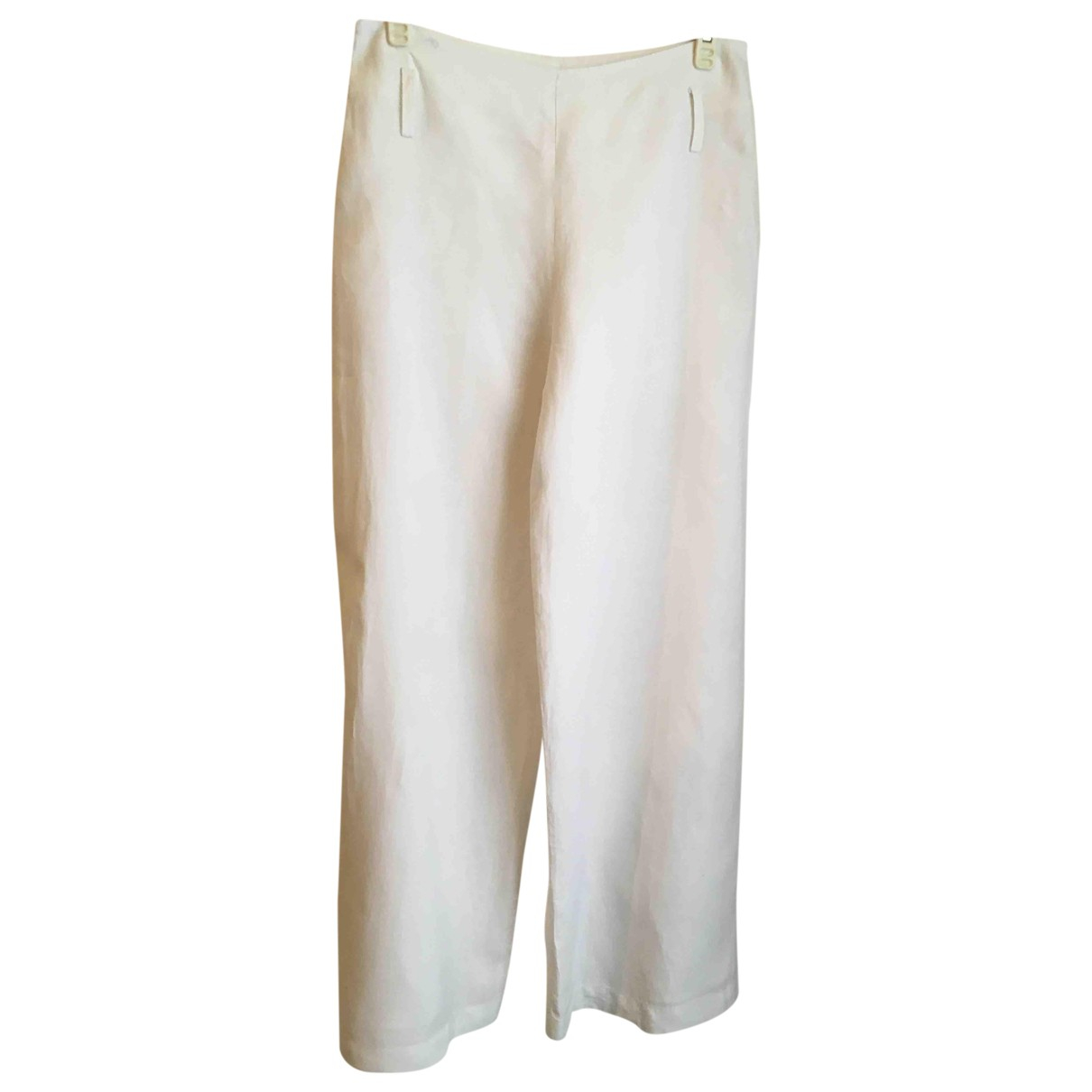 Non Signé / Unsigned Oversize White Linen Trousers for Women 38 FR