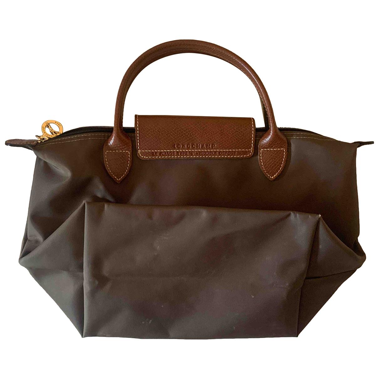 Longchamp Pliage  Handtasche in  Braun Leinen