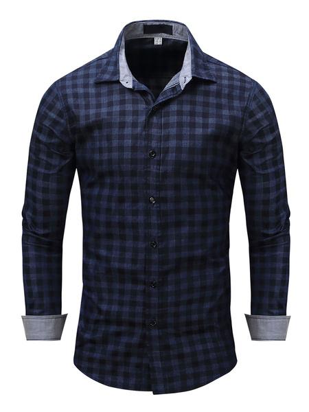 Milanoo Camisa de cuadros escoceses de algodon 100% regular fit para hombre en azul