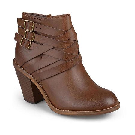 Journee Collection Womens Strap Booties Stacked Heel, 11 Wide, Brown