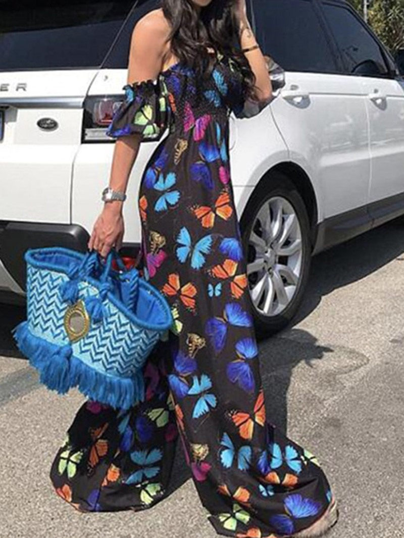 Ericdress Print Full Length Wide Legs Jumpsuit