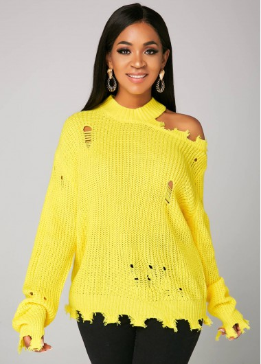 Trendy Yellow Cold Shoulder Long Sleeve Sweater - 2XL