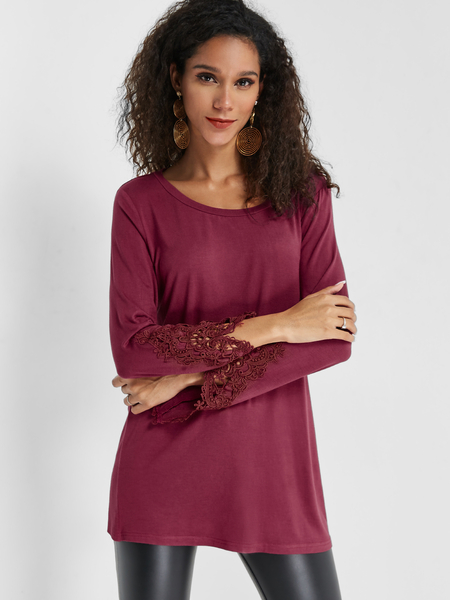 Yoins Rust Round Neck Lace Insert Sleeves Top