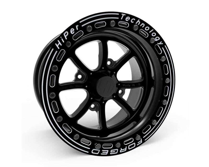 HiPer Technology 1511AL-PBKF1-56-SBL-BK Black with Machined Lip Face FA:15 Beadlock UTV Wheel 15x11 4x156  5+6 Offset