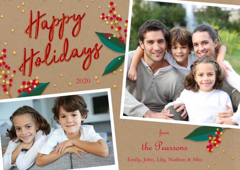 Christmas Photo Cards 5x7 Cards, Standard Cardstock 85lb, Card & Stationery -Berry Snapshots