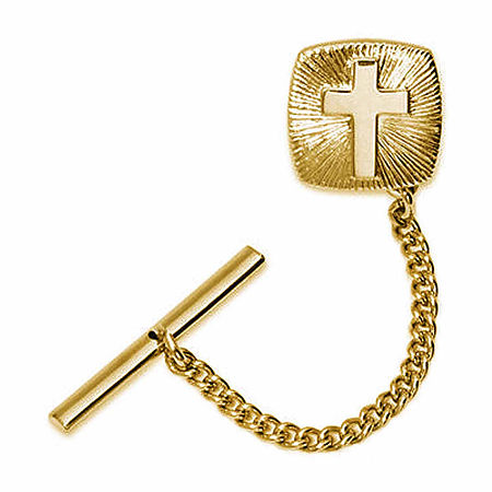 Gold-Plated Cross Starburst Tie Tack, One Size , Yellow