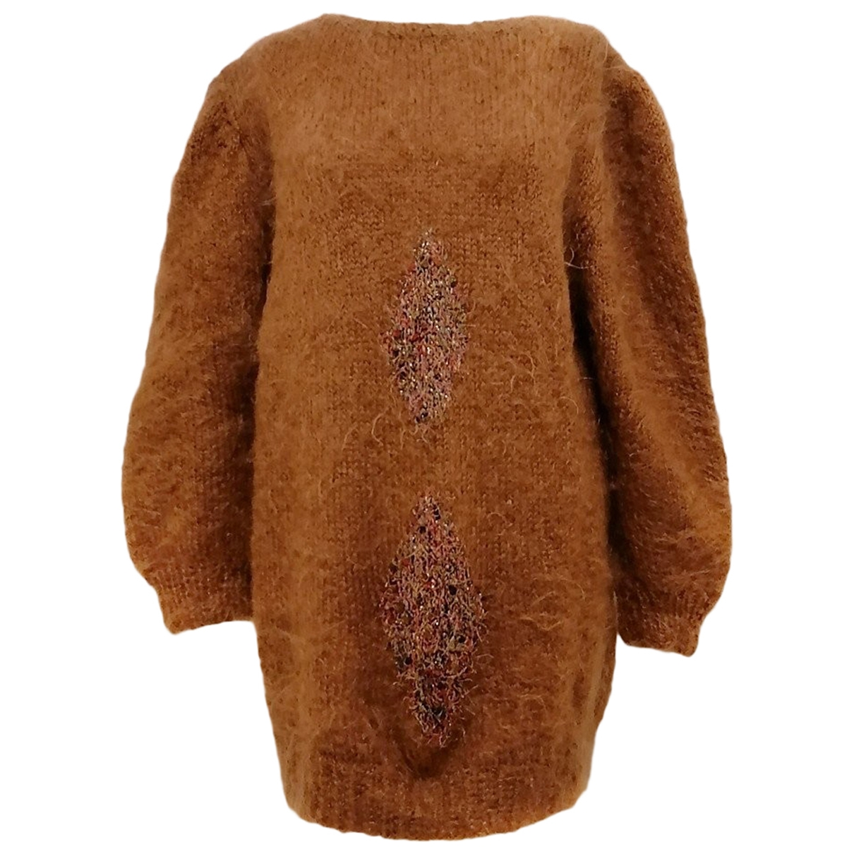 Non Signé / Unsigned Hippie Chic Brown Wool dress for Women One Size IT