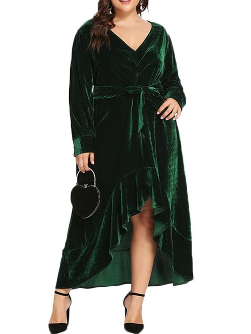 Ericdress Plus Size Asymmetric Long Sleeve V-Neck Regular Plain Dress