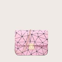 Bolso con cadena de niñas con cerradura con estampado geometrico