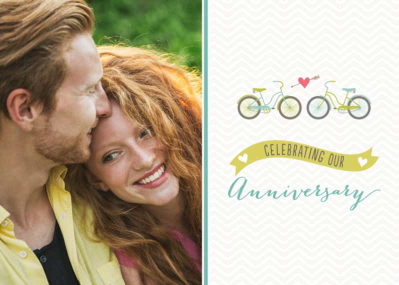Anniversary 5x7 Folded Cards, Premium Cardstock 120lb, Card & Stationery -Tandem Love