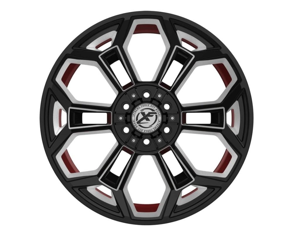 XF Off-Road XFX-308 Wheel 24x14 8x165.1|8x170 -76mm Gloss Black Milled w/ Red Inner