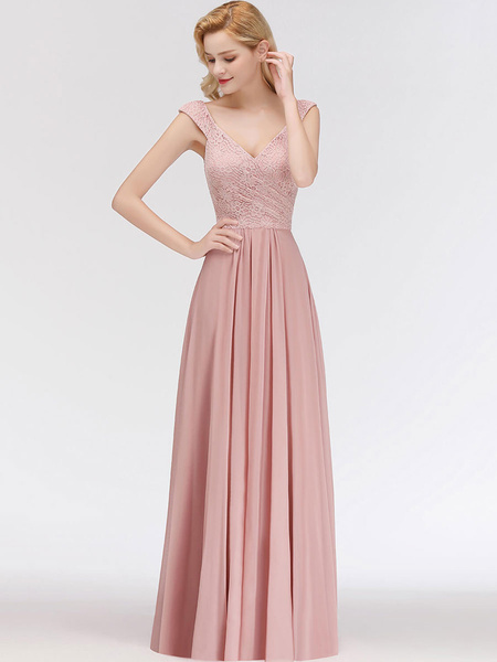 Milanoo Bridesmaid Dresses Lace A Line V Neck Short Sleeve Floor Length Wedding Party Dress