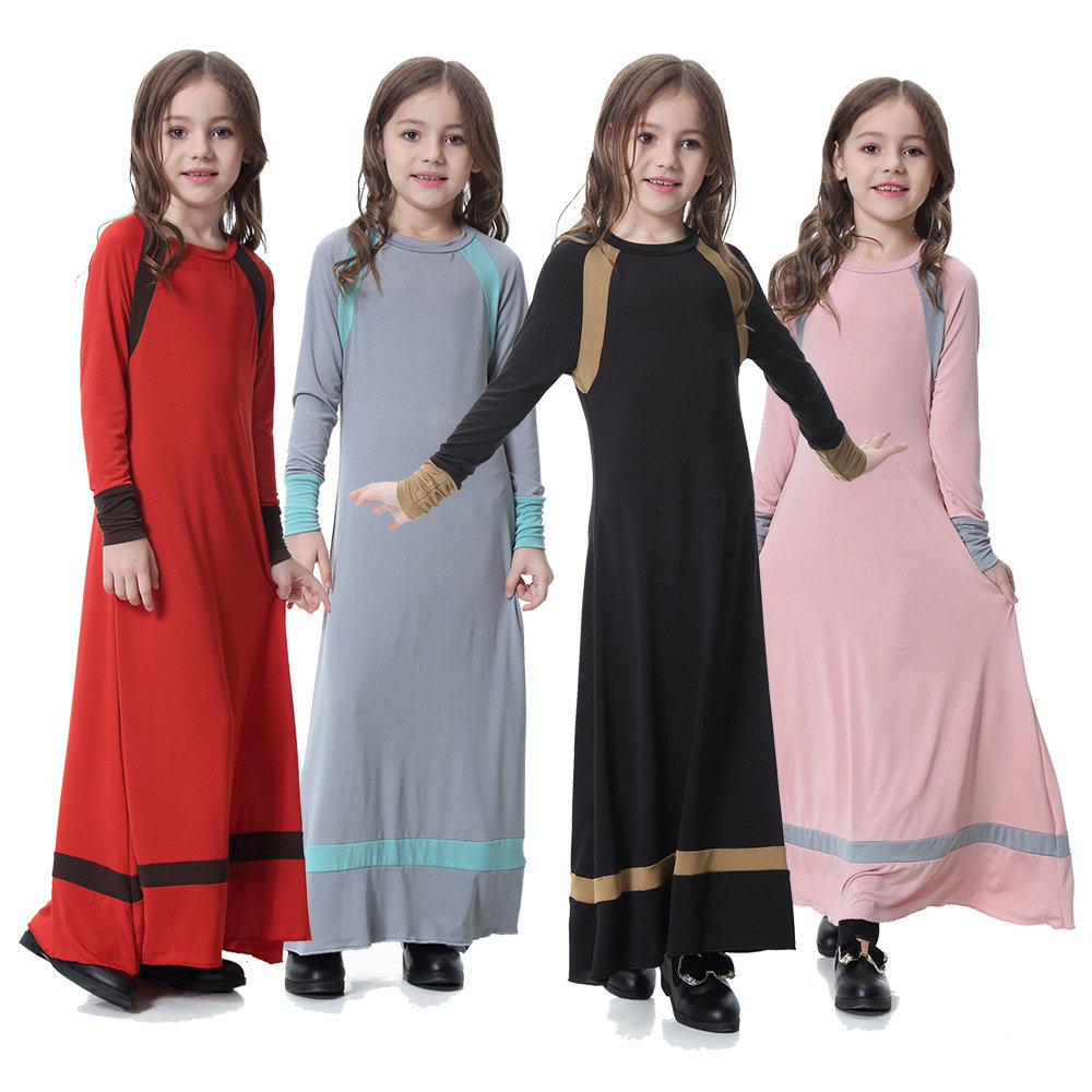 Muslim Abaya Islamic Dress Kaftan For Kids Girl 4-15Y