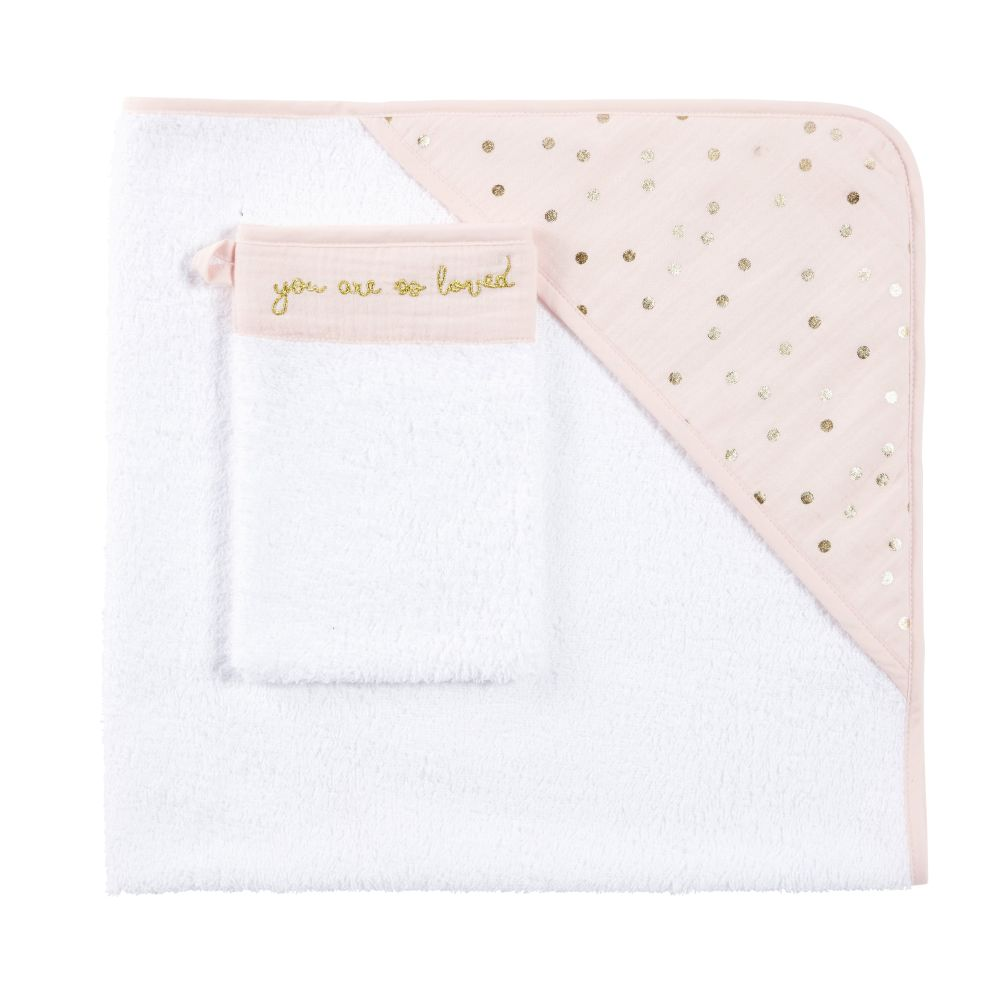 Babybadetuch aus Baumwolle, rosa mit goldenen Puenktchen