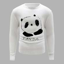 Jersey con patron de panda de dibujos animados