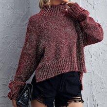 Pullover mit hohem Kragen und Schlitz am Saum