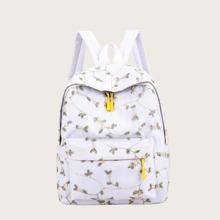 Floral Embroidered Pocket Front Backpack